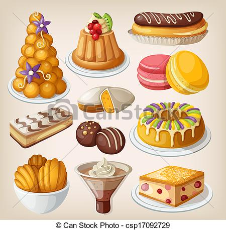Art Of Set Of Traditional French Desserts Csp17092729   Search Clipart