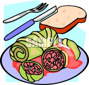 Bread And Cabbage Rolls   Royalty Free Clipart Picture
