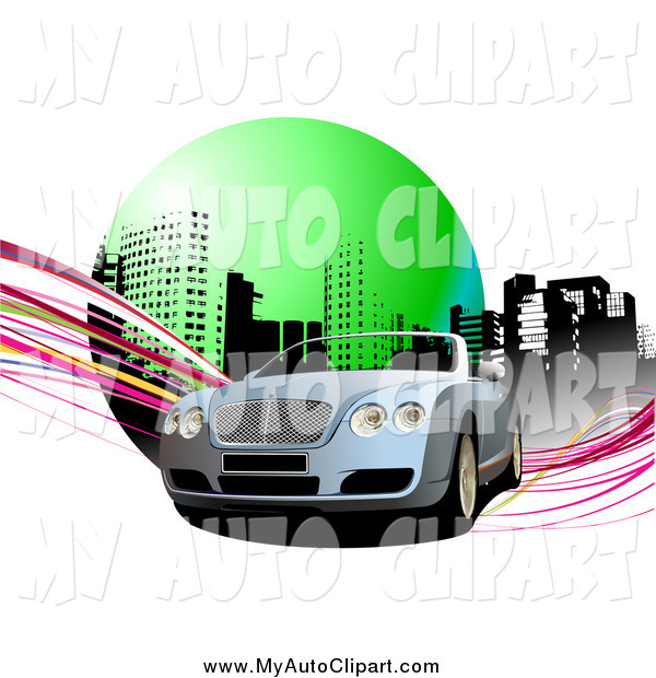 Clip Art Of A Convertible Car In An Urban Setting With Waves By Leonid