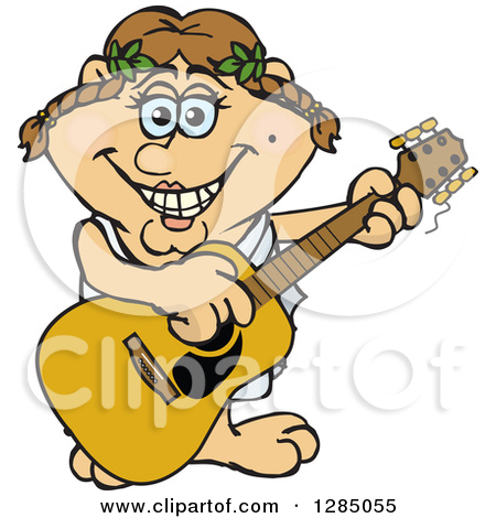 Clipart Of A Cartoon Happy Greek Woman Playing An Acoustic Guitar