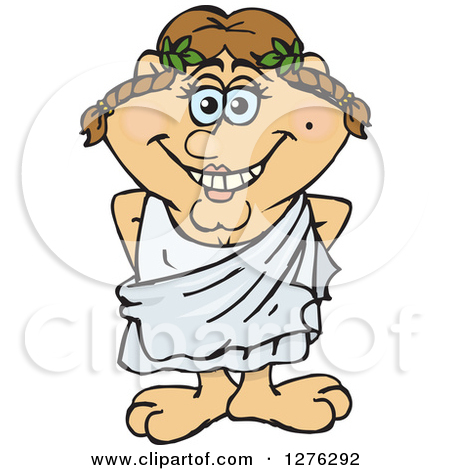 Clipart Of A Happy Greek Woman In A Toga   Royalty Free Vector