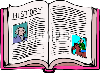 Clipart Picture Of An Open History Book With Pictures Of Early