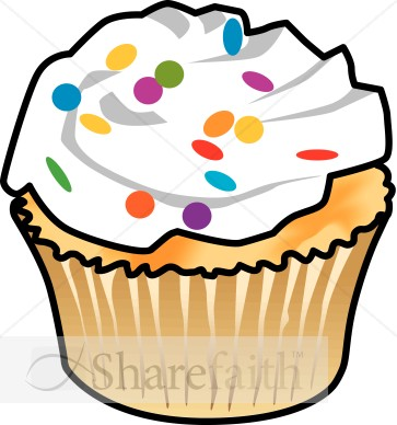 Cupcake And Colorful Frosting   Church Food Clipart