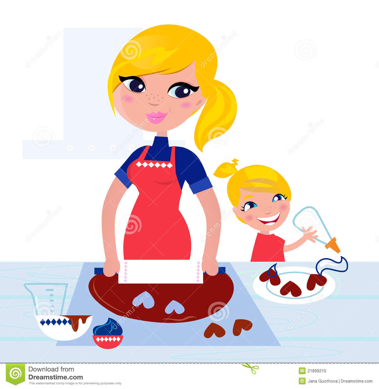 Cute Child Helping Her Mother With Baking Stock Photo Image Clipart