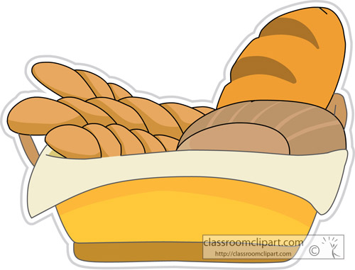 Food   Assorted Breads And Rolls In A Basket   Classroom Clipart