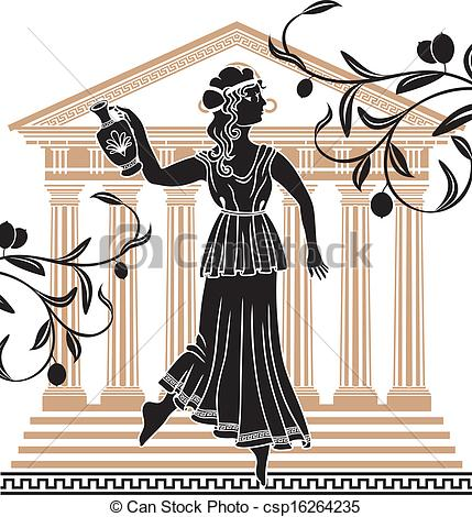 Greek Woman With Amphora Temple And Olive Branches Background