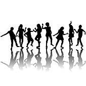 Group Of Children Silhouettes Dancing   Clipart Graphic