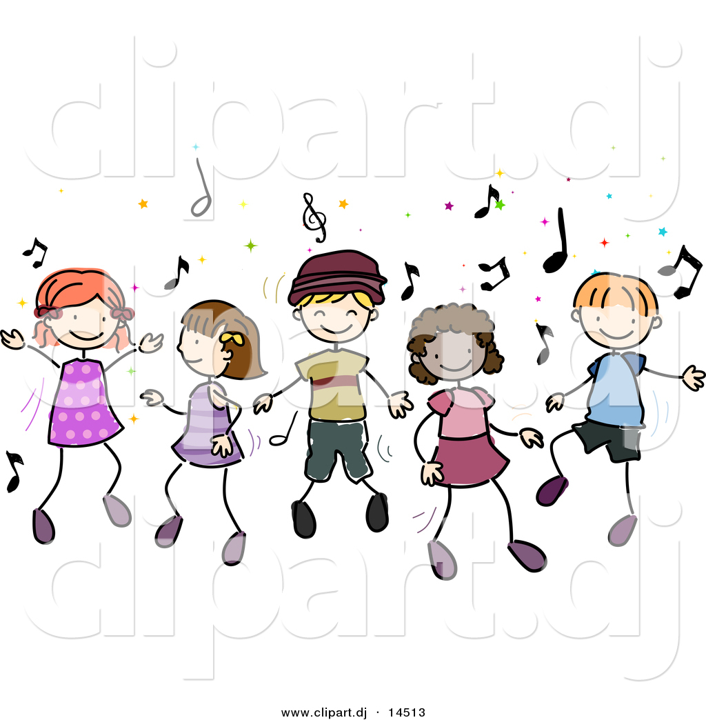 Vector Clipart Of Cartoon Doodled Kids Dancing To Music By Bnp Design