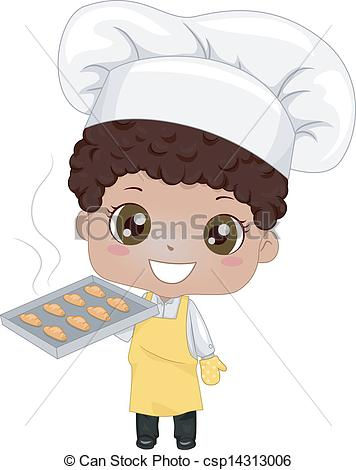 Vector   Little Boy Baking Bread   Stock Illustration Royalty Free