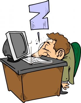 0907 1220 3960 Cartoon Of A Guy Sleeping At Work Clipart Image Jpg