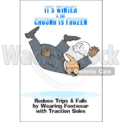 Clipart Illustration Of A Falling Worker With Text Reading It S Winter