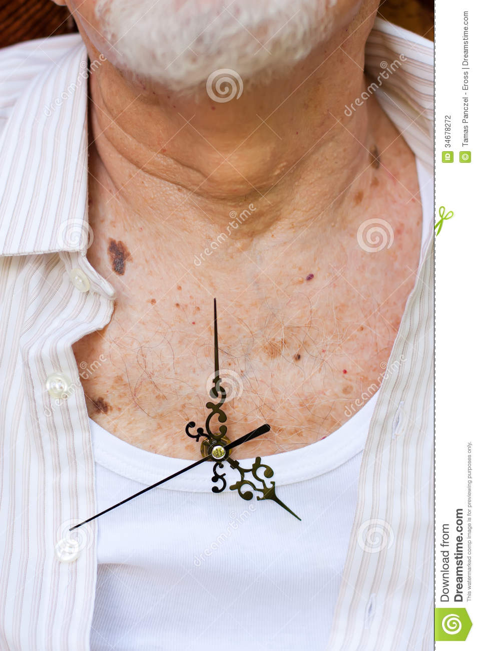 Clock Hands Placed On An Elderly Man S Chest