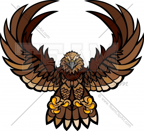 Falcon Wings And Claws Mascot Vector Clipart Image   Team Clipart  Com