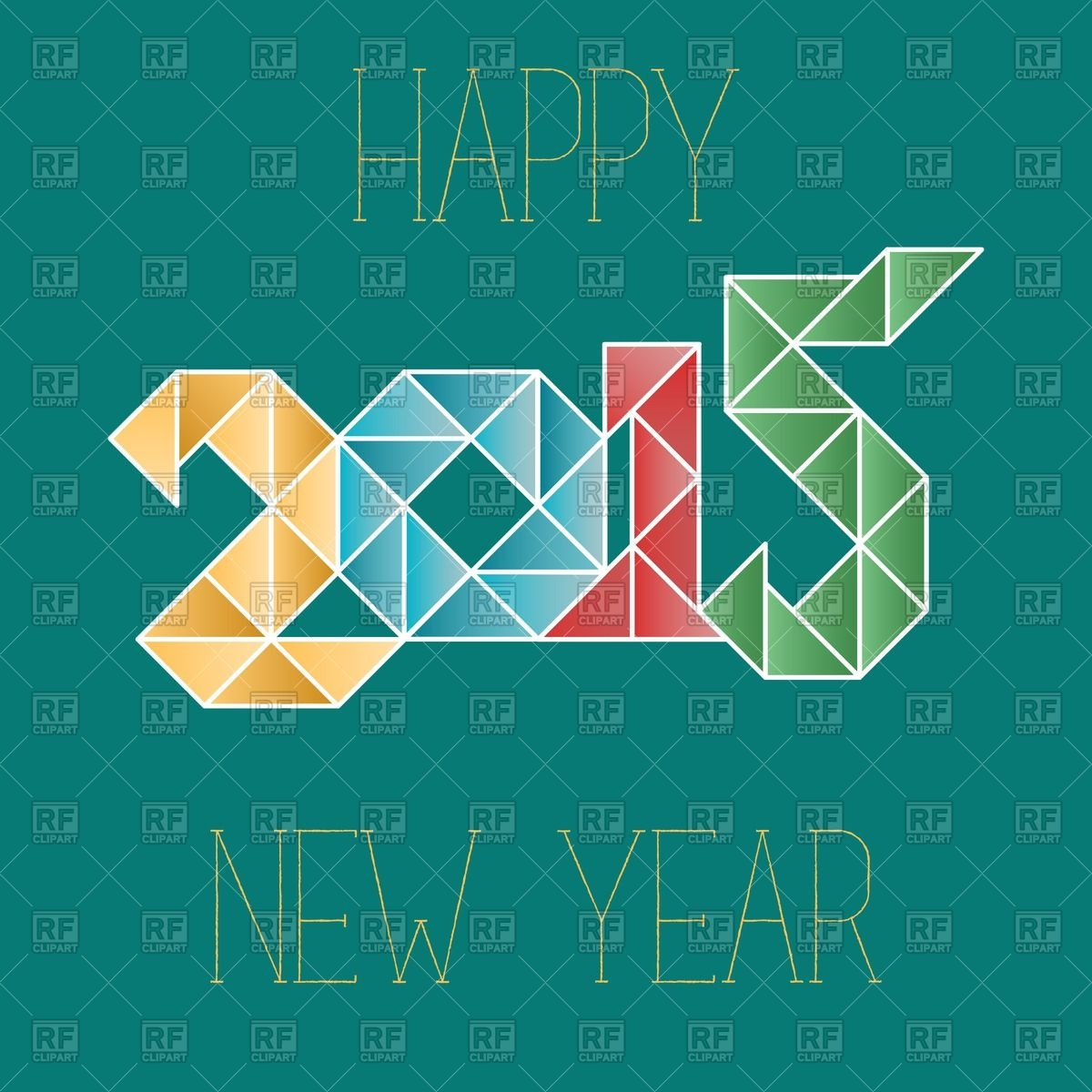 Greeting Card New Year 2015   Colorful Number In Polygonal Style