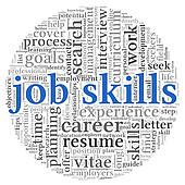 Job Skills In Word Tag Cloud   Royalty Free Clip Art