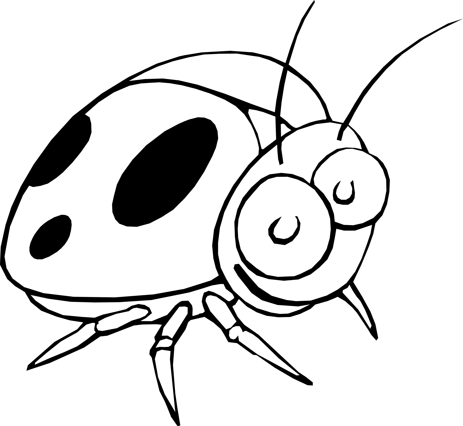 Ladybug 17 Black White Line Art Flower Scalable Vector Graphics Svg