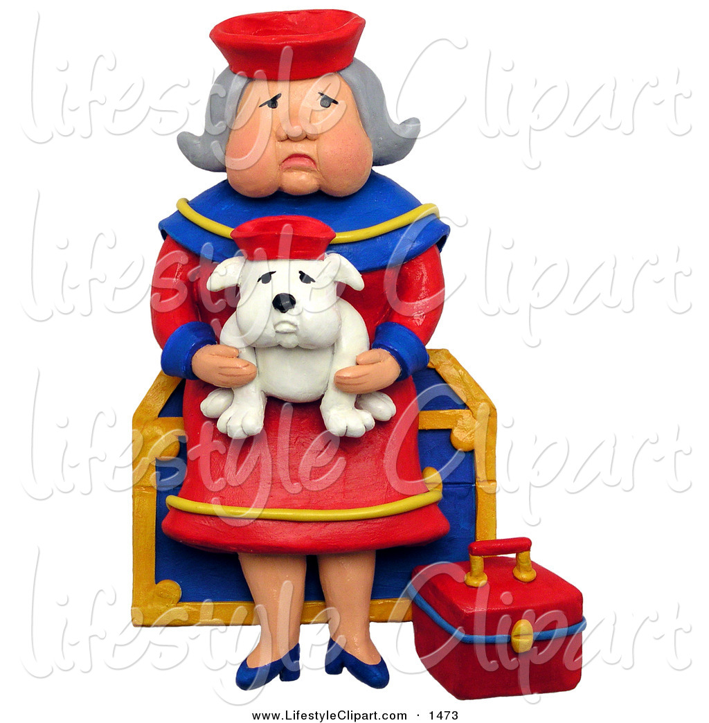 Larger Preview  Lifestyle Clipart Of A 3d Grandma Sitting On A Chest