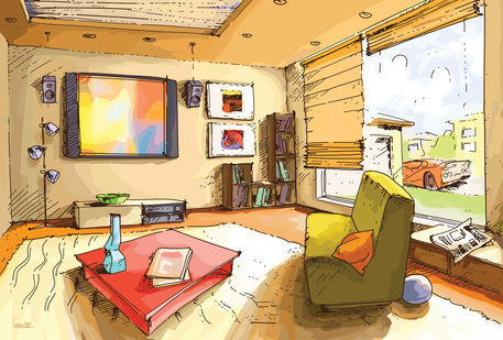 Light Living Room   Drawing Art Prints And Posters By Oleksiy Tsuper