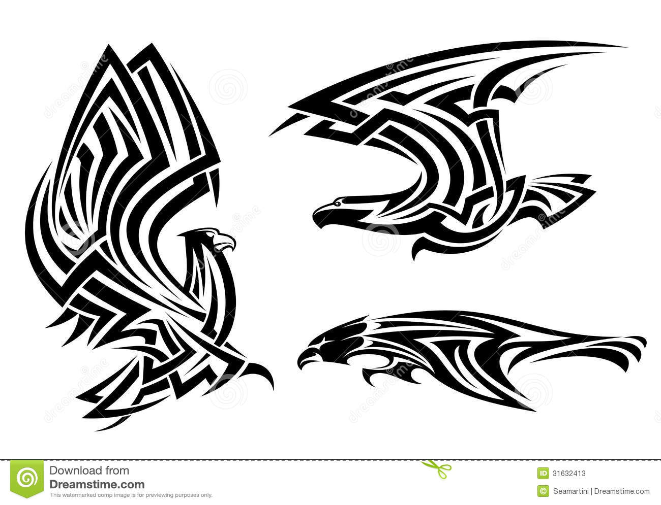 Tribal Eagle Hawk And Falcon Set For Tattoo Or Heraldry Design