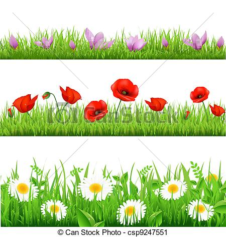 Vector Clip Art Of Flower Set   3 Flower Border With Grass Isolated