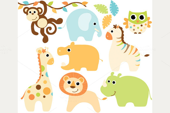 Baby Boy Safari Animals Clipart   Illustrations On Creative Market