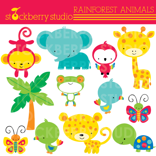 Baby Safari Animals Clip Art Rainforest Animals Clipart
