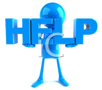 Blue 3d Computer Character Help Icon   Royalty Free Clipart Image