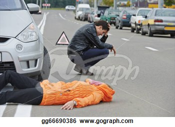 Clip Art   Accident  Knocked Down Pedestrian  Stock Illustration