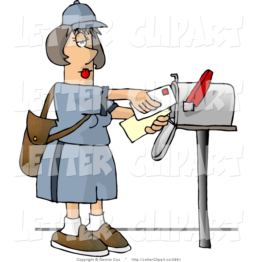 Clip Art Of A Female Mail Carrier Putting Mail Into A Mailbox By Djart