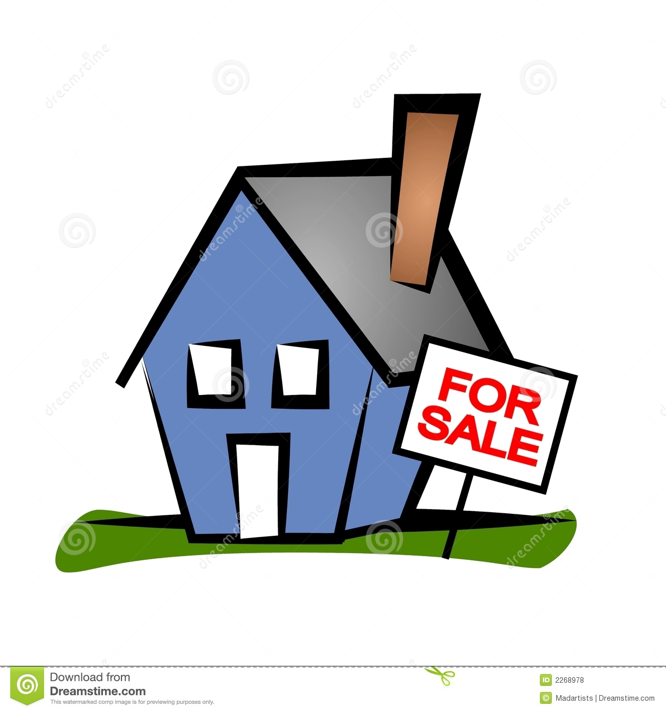 Clip Art Real Estate Illustration Of A Blue House With A For Sale