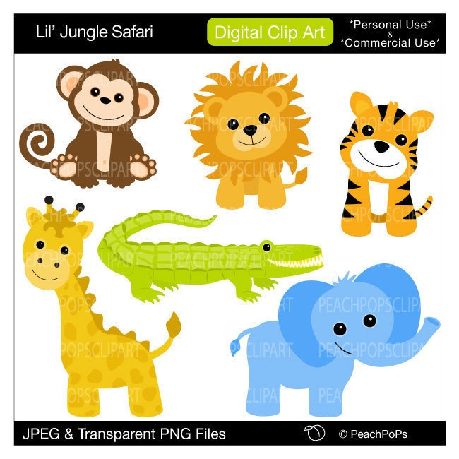 Clipart Baby Monkey Elephant Alligator Giraffe   Lil Jungle Safari
