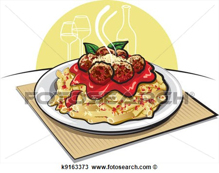 Clipart   Pasta With Meatballs And Sauce   Fotosearch   Search Clip