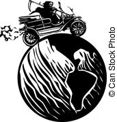 Death Driving Around The World   Woodcut Style Expressionist