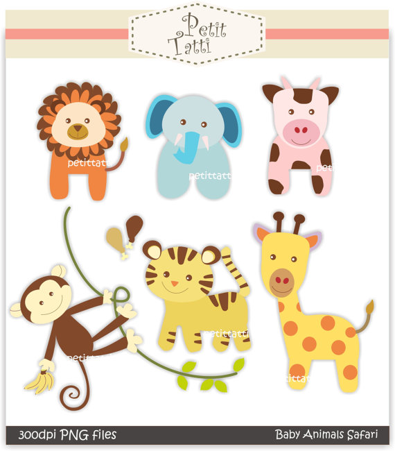 Digital Clip Art Baby Animal Safari  Instant Download Clip Art