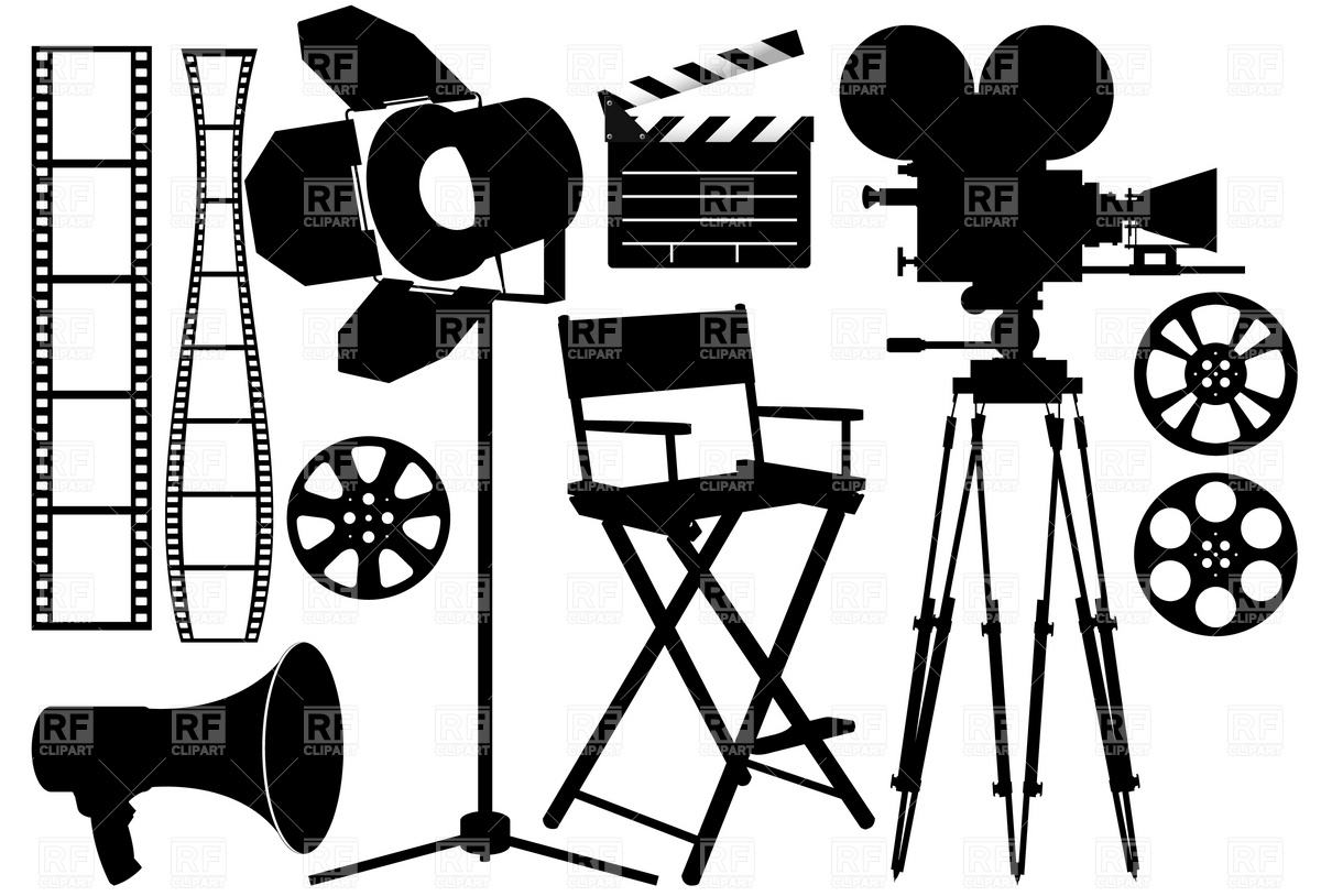 Film Industry Silhouette Icons Download Royalty Free Vector Clipart