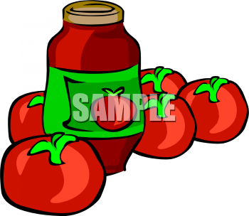 Food Clipart Picture Of Ripe Tomatoes And A Jar Of Sauce   Foodclipart