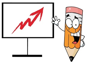 Growth Clipart Image   Pencil Cartoon Character Presenting A Business