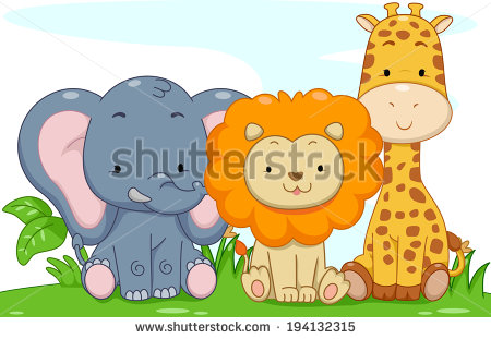 Illustration Featuring Cute Baby Safari Animals   Stock Vector