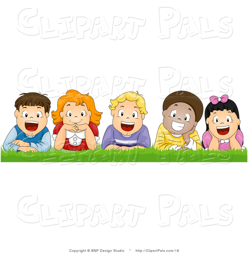 Pal Vector Clipart Of Happy Kids Laying In The Grass By Bnp Design
