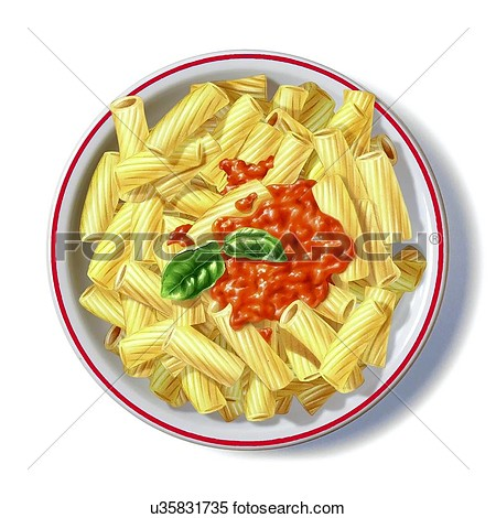 Pasta And Tomato Sauce Artwork  Fotosearch   Search Clipart Drawings