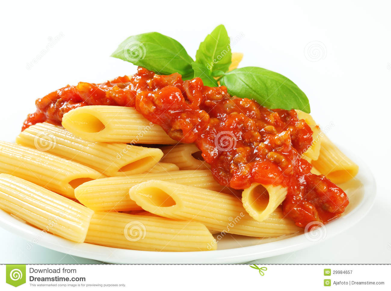 Penne With Meat Tomato Sauce Royalty Free Stock Photography Image
