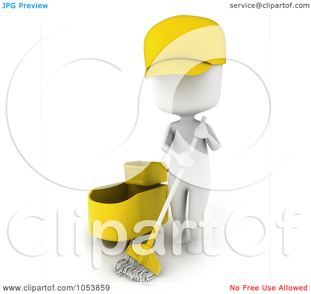 Royalty Free 3d Clip Art Illustration Of A 3d Ivory White Man Janitor