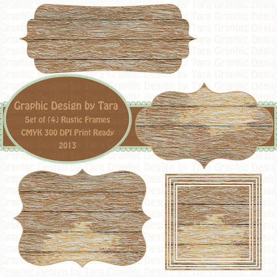 rustic wood frames clip art for personal and commercial use