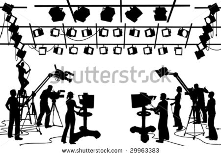Vector Clip Art Set Of Tv Channel Studio Crew Including Cameras