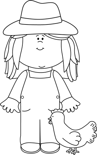 And White Girl Farmer Clip Art   Black And White Girl Farmer Image