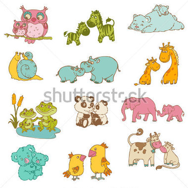 Baby And Mommy Animals Hand Drawn In Vector Stock Vector   Clipart Me