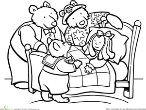 Color Goldilocks And The Three Bears   Coloring Page   Education Com