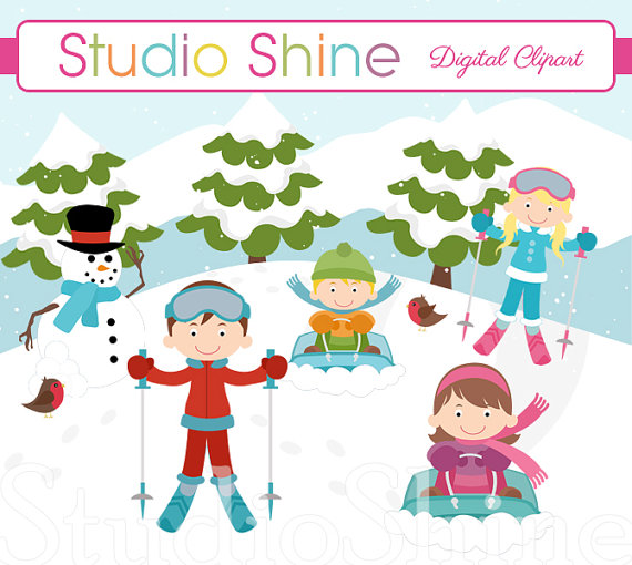 Fun In The Snow Clipart   Digital Clipart Cute Children Snowman Birds