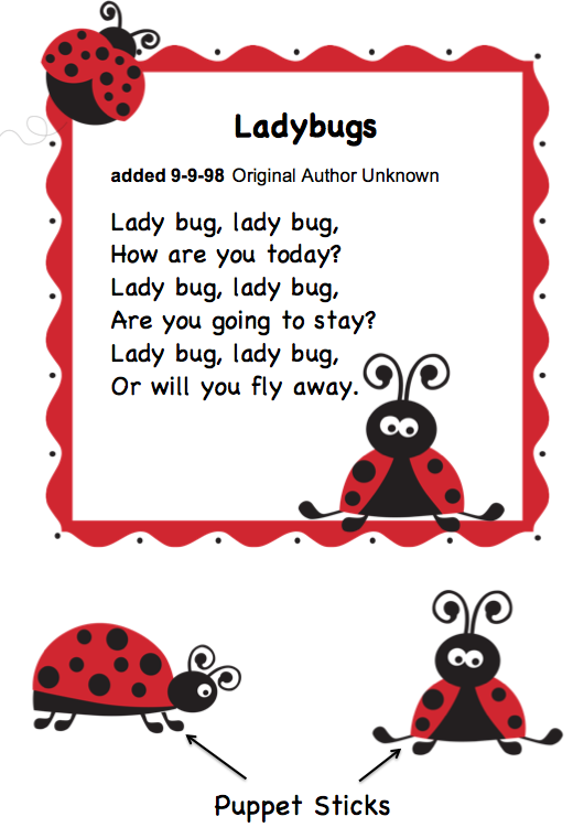 Funprintablesforpreschoolers Free Ladybug Songs And Puppet Sticks