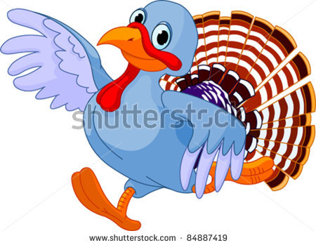 Picture Of A Blue Turkey Running In A Vector Clip Art Illustration